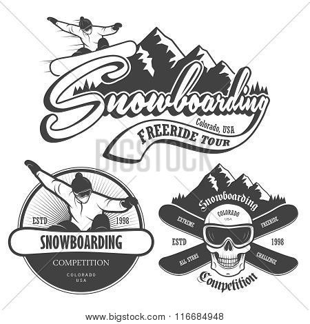 Set of snowboarding emblems, labels and designed elements.