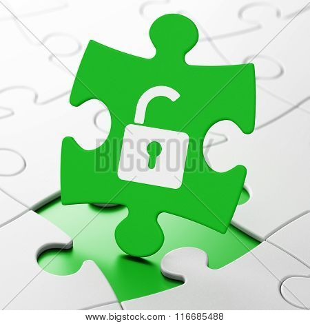 Safety concept: Opened Padlock on puzzle background