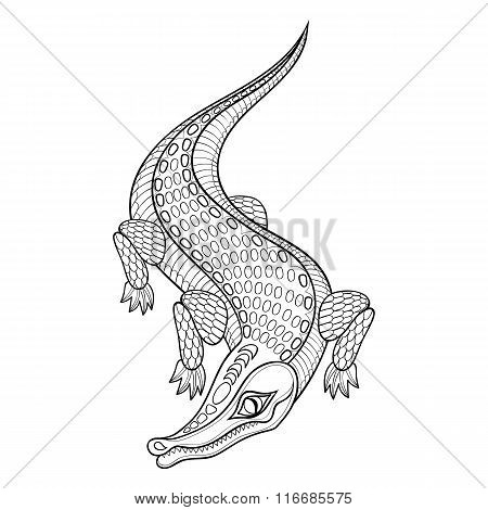 Hand drawn zentangled Crocodile for adult coloring pages in dood