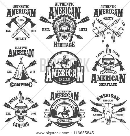 Set of american indian emblems