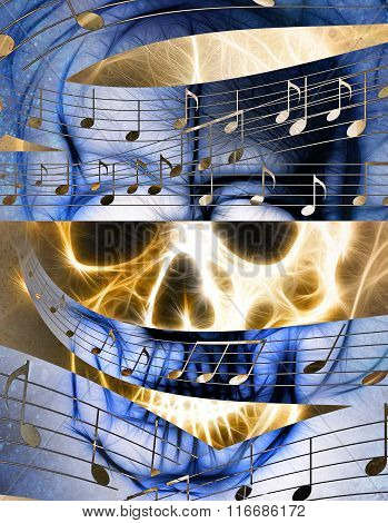 Skull and music note.  Skull in fire flames. Color abstract background, computer collage.
