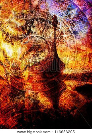 Viking Boat on the beach with wood dragon and Ancient Mayan Calendar, abstract color Background, com