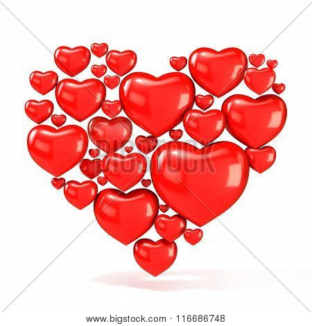 Sweet red beautiful hearts on white background arranged in shape of big heart. 3D