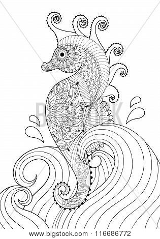 Hand drawn artistic Sea horse in waves for adult coloring page A