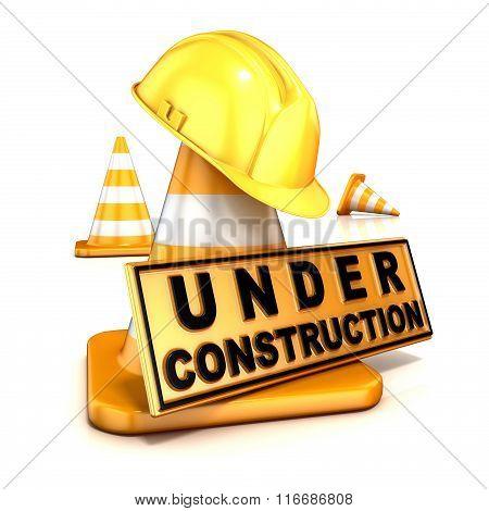 Under construction sign. 3D