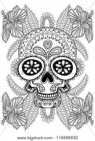 Hand drawn artistic Skull in flowers for adult coloring page A4