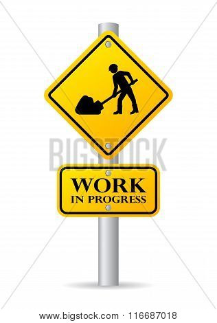 Road works in progress sign