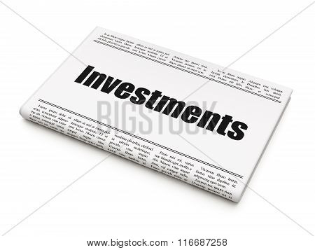 Banking concept: newspaper headline Investments
