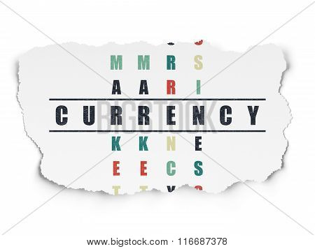 Currency concept: Currency in Crossword Puzzle