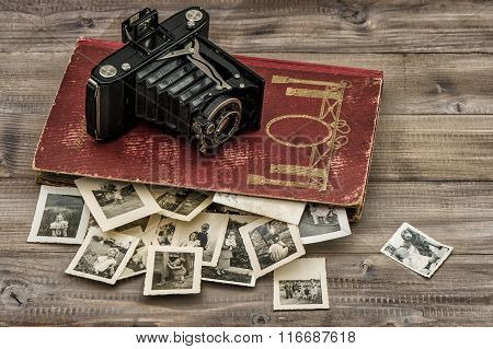 Antique Film Camera, Photo Album Old Pictures