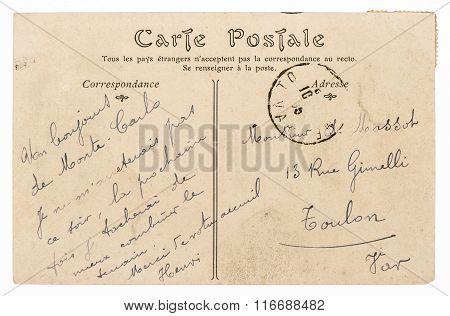 Vintage handwritten postcard mail with unreadable undefined text. Used paper texture