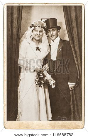 Antique Wedding Photo. Just Married Couple