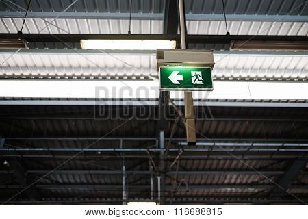 Exit Sign Post With Clipping Path