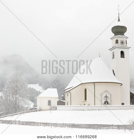 Chapel In Tyrol At Wintertime, Wildschonau, Alps, Austria
