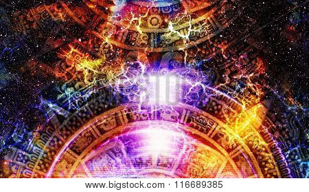 Ancient Mayan Calendar, Cosmic Space And Stars, Abstract Color Background, Computer Collage.