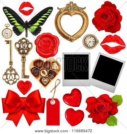 Valentines Day Scrapbook. Red Hearts, Photo Frame, Polaroid, Kiss