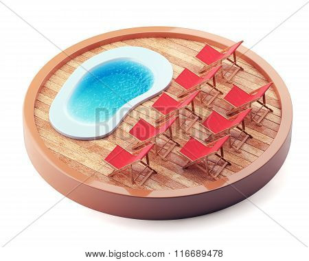 Lounge Chairs Near The Pool On Wooden Plate.