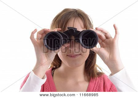Closeup Of Young Woman Looking Trough Binoculars