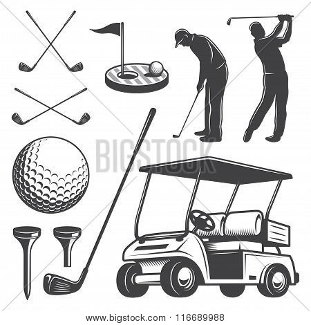 Set of vintage golf elements