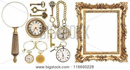 Collection Of Golden Vintage Goods Frames Objects