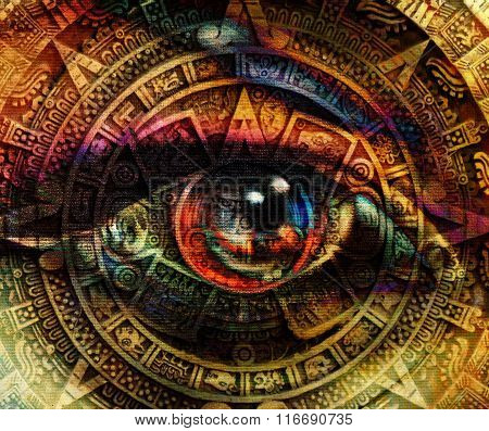 Ancient Mayan Calendar and woman eye,  abstract color Background, computer collage.
