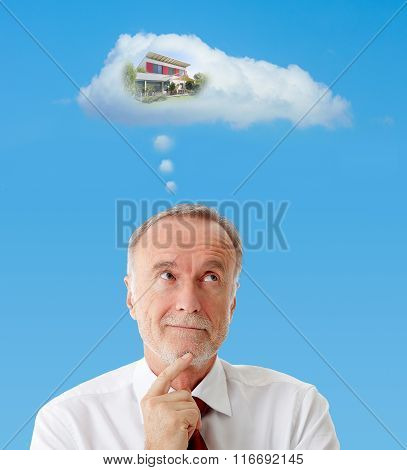 Senior Man Dreaming About A New House, Symbol