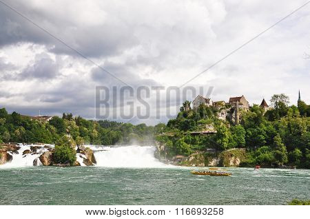 Rhinefall in Schaffhausen, Switzerland, the largest Waterfall in Europe