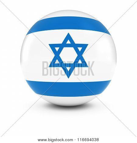 Israeli Flag Ball - Flag Of Israel On Isolated Sphere
