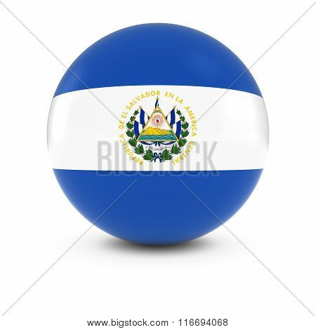 Salvadoran Flag Ball - Flag Of El Salvador On Isolated Sphere