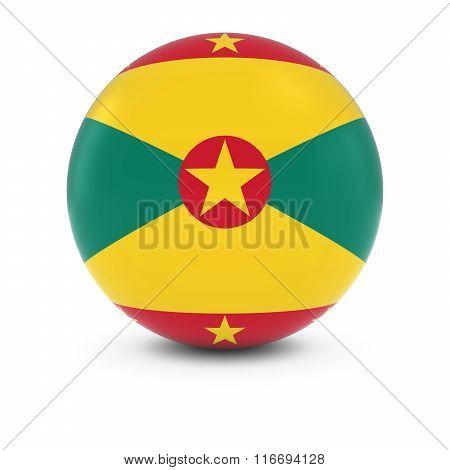 Grenadian Flag Ball - Flag Of Grenada On Isolated Sphere