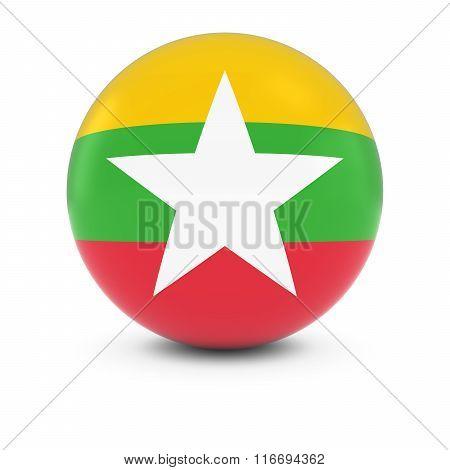 Burmese Flag Ball - Flag Of Myanmar/burma On Isolated Sphere