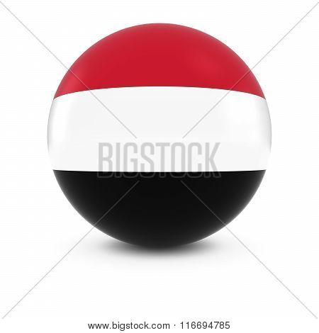 Yemeni Flag Ball - Flag Of Yemen On Isolated Sphere