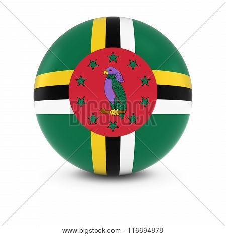 Dominican Flag Ball - Flag Of Dominica On Isolated Sphere