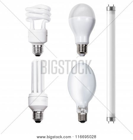 A set of five light bulbs on white background