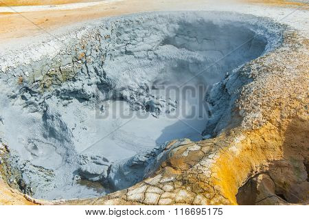 Hot boiling mud at fumarole is bubbling and exploding at mudpots, Hverir - Icelnad. When photographed at high speed nice sculptures could be seen