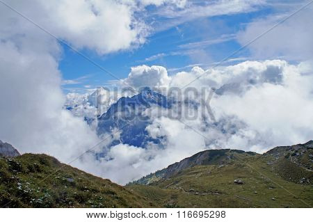 High mountains in clouds