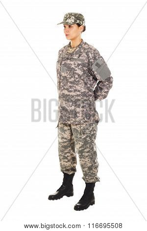 Girl - Soldier In The Military Uniform