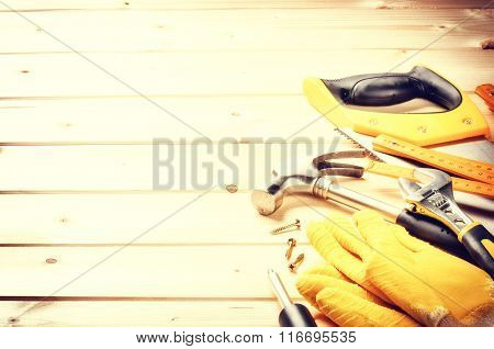 Set Of Various Tools On Wooden Background. Construction Concept
