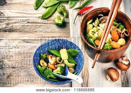 Asian Noodles With Stir-fried Vegetables. Food Background