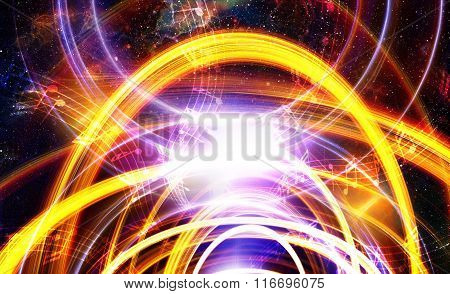 music note and Space and stars with abstrtact color background.