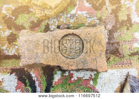 The Stamp On Old Baked Clay Brick