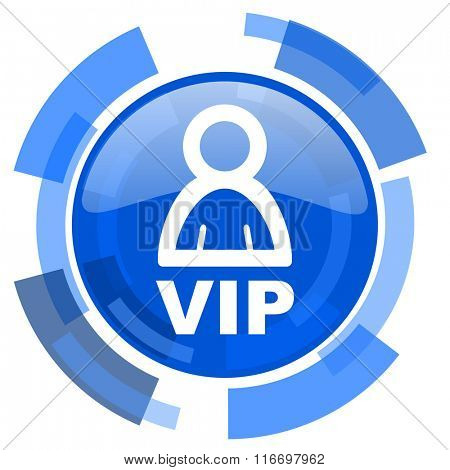 vip blue glossy circle modern web icon
