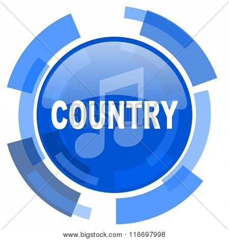 music country blue glossy circle modern web icon
