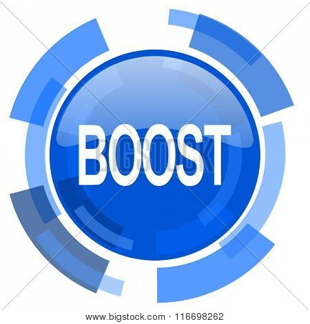 boost blue glossy circle modern web icon