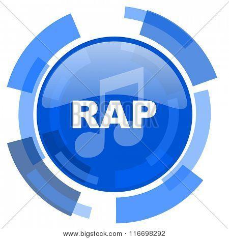 rap music blue glossy circle modern web icon