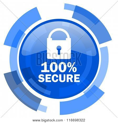 secure blue glossy circle modern web icon