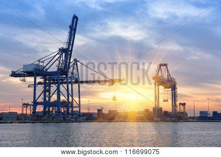 Morning Scene In Cargo Ship Terminal.