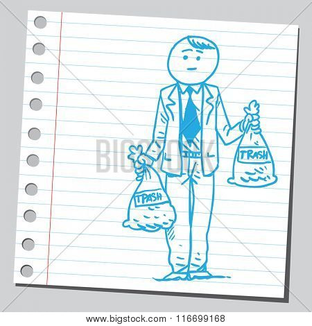 Businessman holding garbage bags