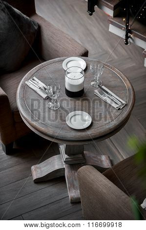 comfortable interior with served table