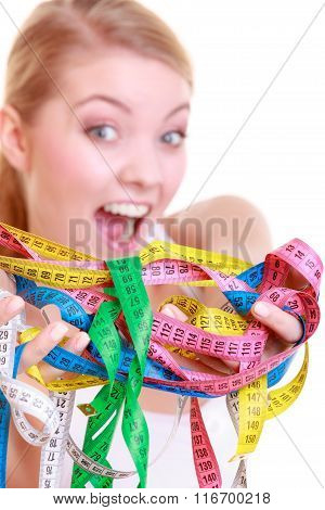 Fitness Woman Fit Girl Holding A Lot Of Colorful Measure Tapes